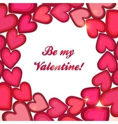 Pink hearts circle Valentines day card vector image vector image