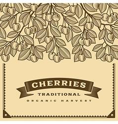 Retro cherry harvest card brown vector image