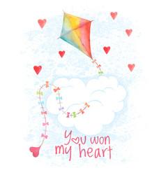 saint valentines day hand drawn card vector image