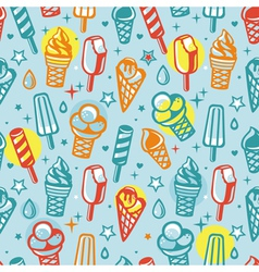 seamless pattern with cartoon ice cream vector image vector image