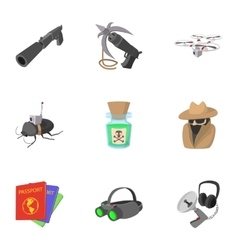 Spy icons set cartoon style vector image vector image
