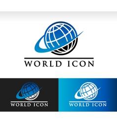 Swoosh world logo icon vector
