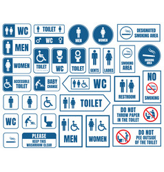 toilet signs set restroom wc stickers vector image