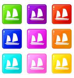 vietnamese junk boat icons 9 set vector image