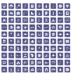 100 kids icons set grunge sapphire vector image vector image