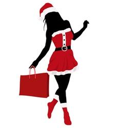 christmas girl silhouette vector image