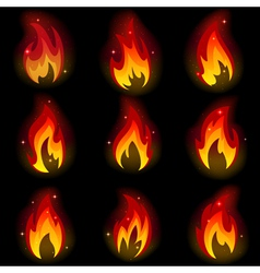 Collection of friezes from the fire vector image vector image