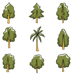 Collection of tree set art vector image