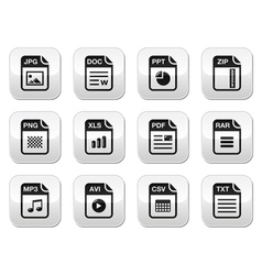 File type black icons on modern grey buttons set vector image vector image