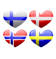 Flags of Scandinavia in the form of heart vector image vector image