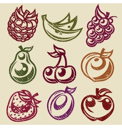 Grunge Fruits and Berry Stamps Icons vector image