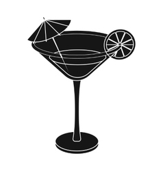 Lemon cocktail icon in black style isolated on vector image