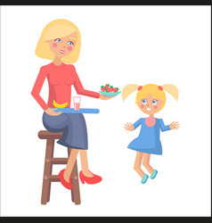 mother feeds her little daughter with strawberries vector image vector image