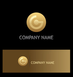 gold round technology logo vector image