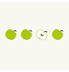 Green apple set in a row Whole and half with vector image vector image