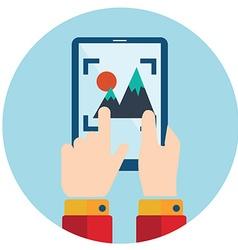 hands holding smart phone tablet video and photo vector image