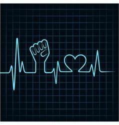 Heartbeat make unity hand and heart stock vector