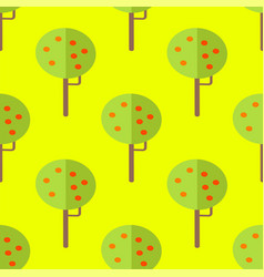 seamless pattern with apple trees on yellow vector image vector image