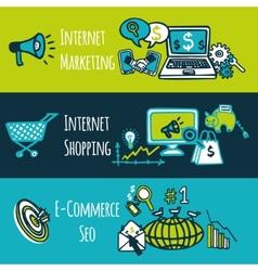 SEO internet marketing set vector image vector image