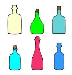 Set of Sketch Bottles vector image