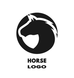 Silhouette of the horse monochrome logo vector image vector image