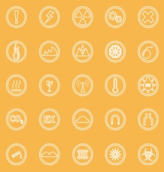 Warning sign line icons on yellow background vector