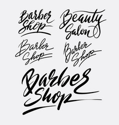 barber shop and beauty salon hand written typograp vector image vector image
