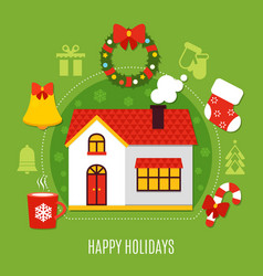 christmas holidays flat composition vector image vector image