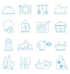 Cooking kitchen tools and food line icons vector image vector image