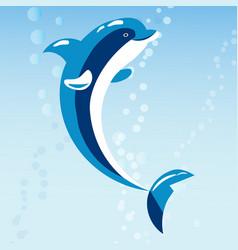 Cute dolphins aquatic marine nature ocean blue vector