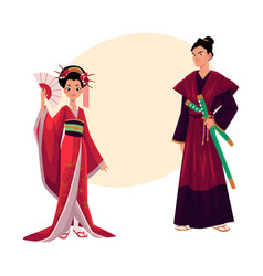 japanese geisha and samurai in traditional kimono vector image vector image