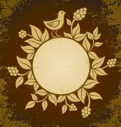 Retro plant bird vector image vector image