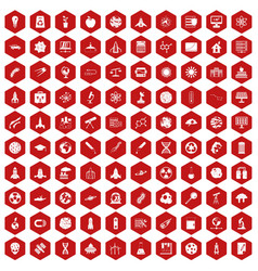 100 space icons hexagon red vector