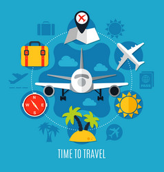 air travel flat advertisement poster vector image