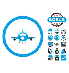 Aircraft Flat Icon with Bonus vector image