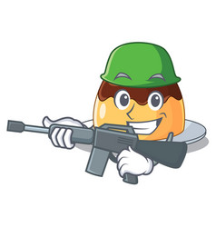 Army delicious chocolate pudding with on cartoon vector