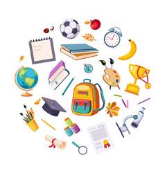 back to school concept school supplies round vector image