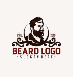 barber shop vintage design logo template vector image