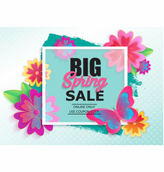 Big spring sale banner with colorful flower vector