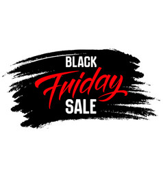 black friday sale lettering on a brush stroke vector image