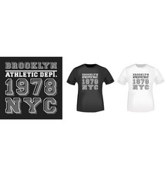 brooklyn nyc t-shirt print for t shirts applique vector image