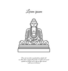 Buddha statue line icon linear style sign vector