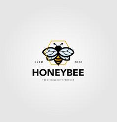 Bumblebee mascot logo hexagon symbol design vector