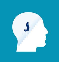 Businesswoman climbing stairs inside human head vector