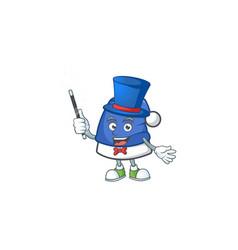 Cartoon character blue christmas hat magician vector