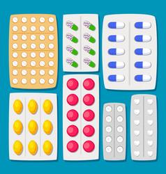 cartoon pills blisters set vector image