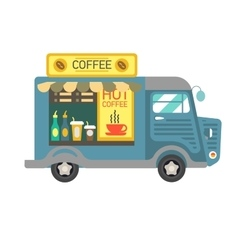 Cartoon style of a coffee van side vector image