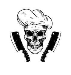 chef skull and meat cleavers design element vector image
