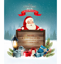 Christmas holiday background with santa claus vector