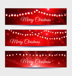 Christmas light garlands banners set vector
